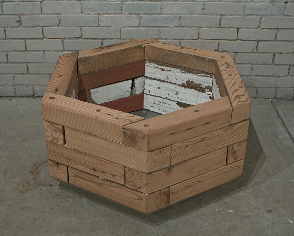 Reclaimed hexagonal wood planter1 Custom By Rushton LLC
