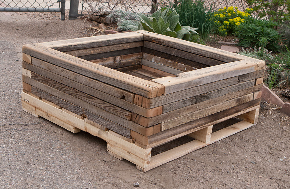 Unique Raised Garden Containers : Reclaimed stacked palette wood planter custom by