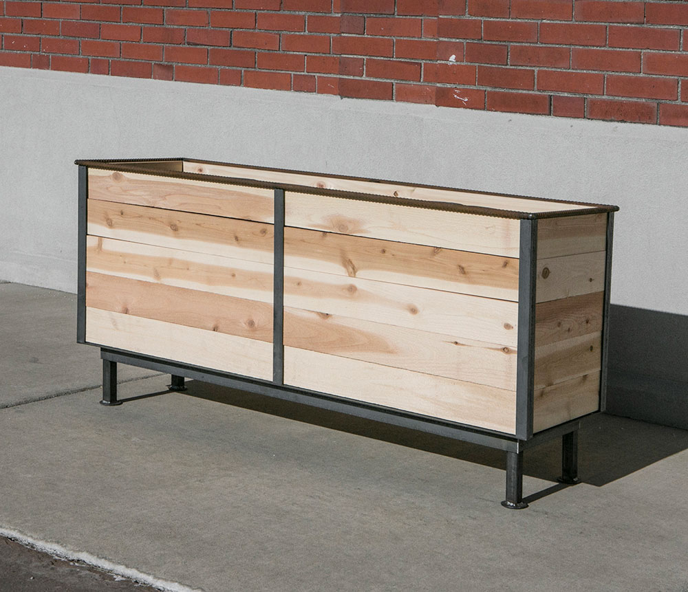 Steel frame planter with new cedar wood insert