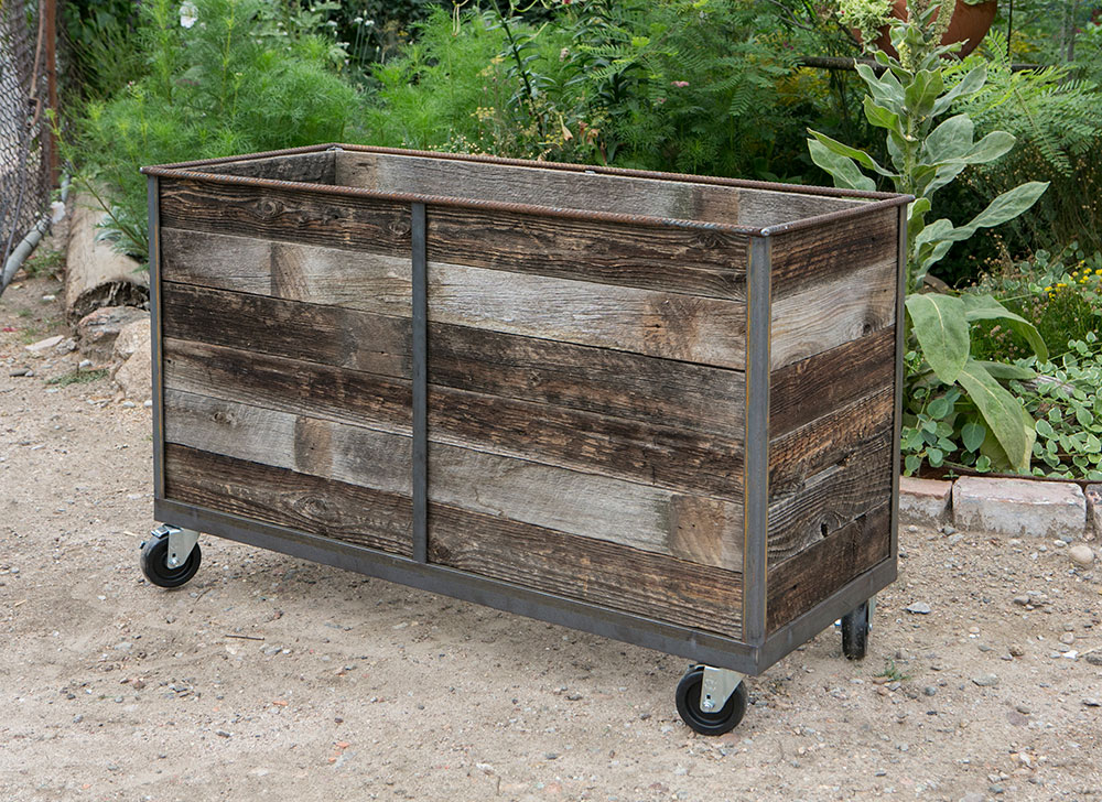 Steel Frame Planters With Reclaimed Cedar Wood Insert And Casters