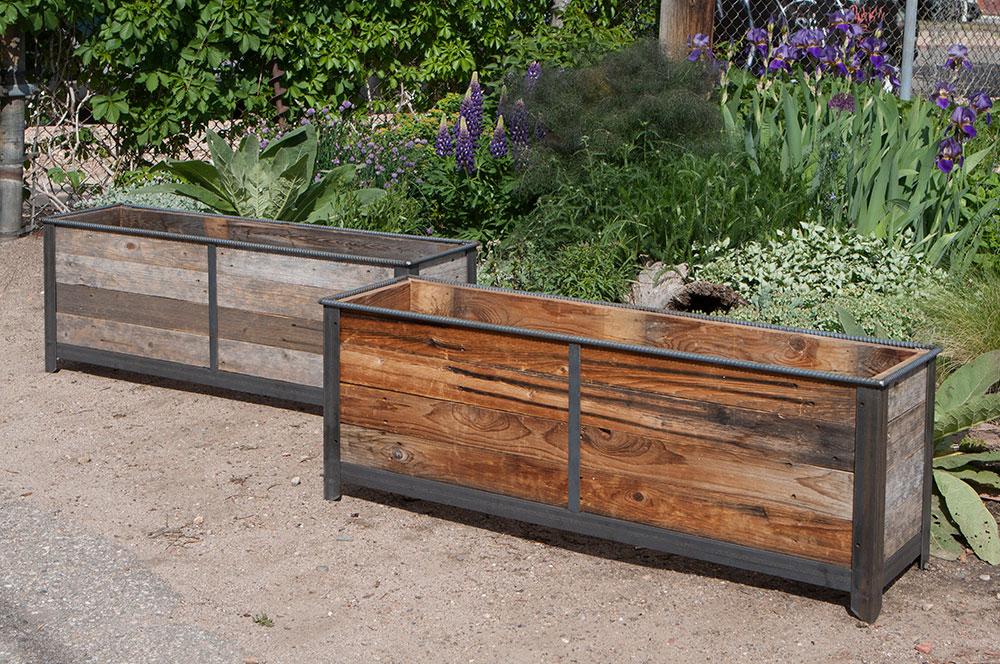Steel frame planters with reclaimed cedar wood insert - Rustic Steel Frame Planters With Reclaimed Cedar Wood - Custom By