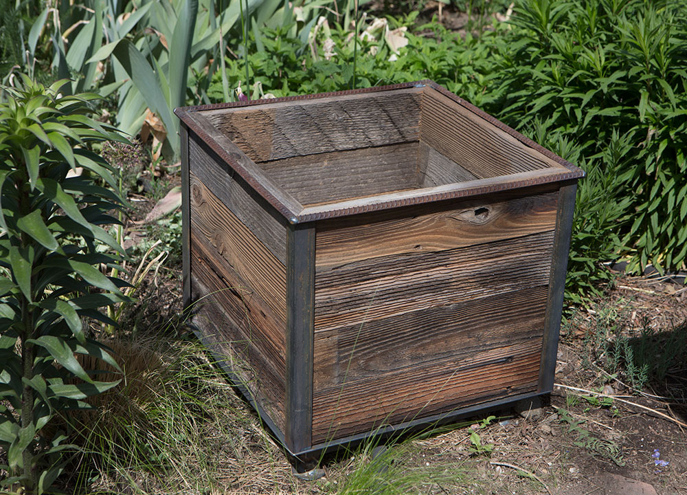 Square steel frame Planter with reclaimed cedar wood Insert - Rustic Steel Frame Planters With Reclaimed Cedar Wood - Custom By