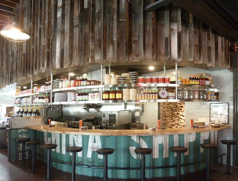 Reclaimed wood wall for ACE restaurant - Ace Eat Serve - Custom By Rushton, LLC