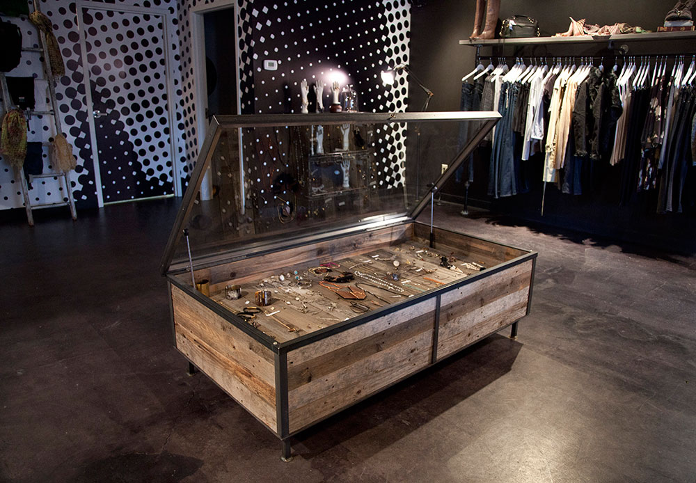 Jewelry case out of reclaimed wood for high end clothting store