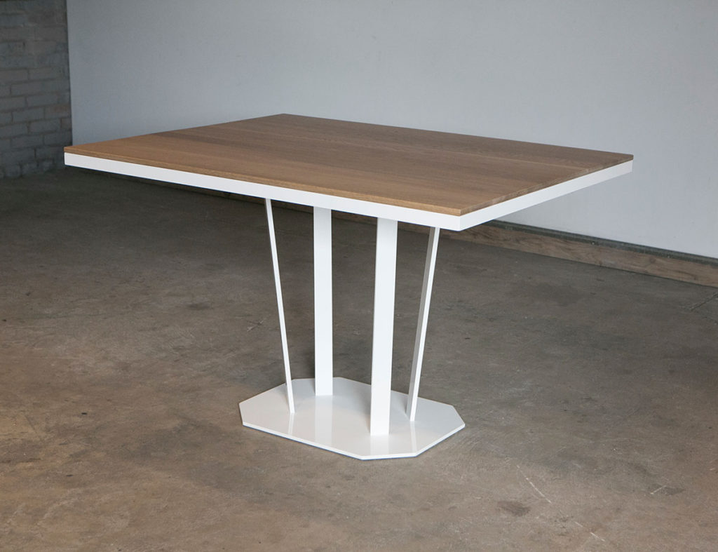 Modern table with powder coated steel frame base