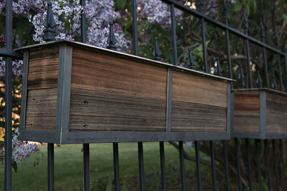 Reclaimed railing planters for your deck or front yard