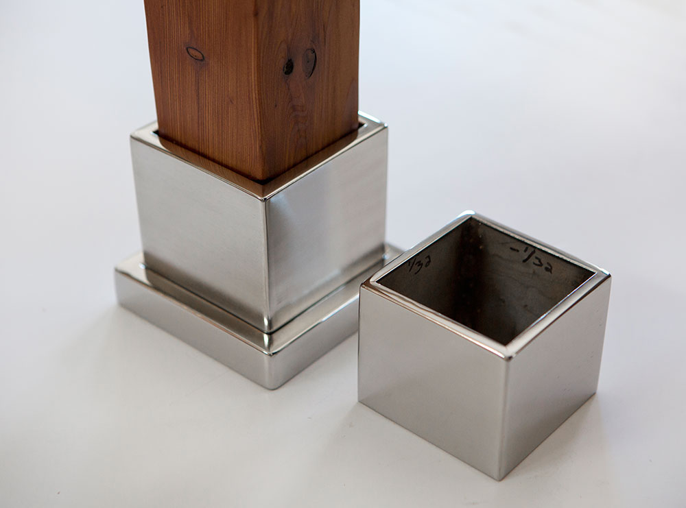stainless steel base and cap for legs of kitchen island counter top